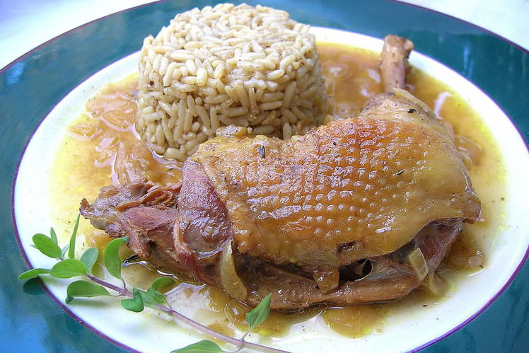 Poule au curry et son riz pilaf