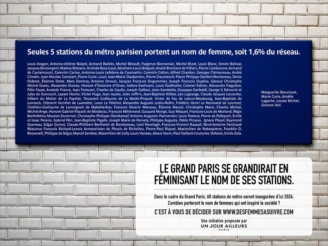 Plaque Metro Parisien Deco votez pour le nom de femme de votre prochaine station de métro