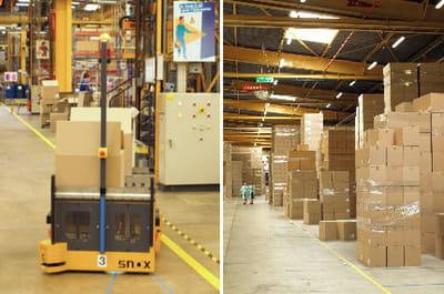 la moitié de la surface de l'usine est dédiée au stockage.