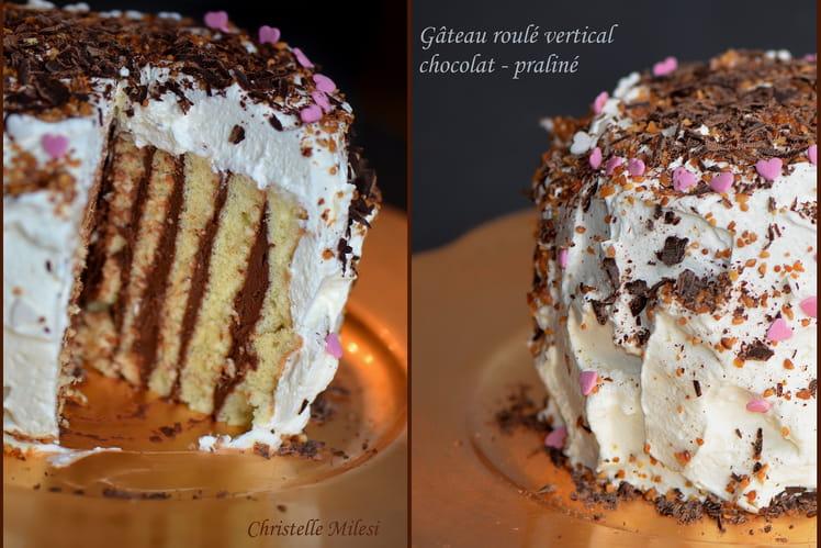 Gâteau roulé vertical chocolat - praliné