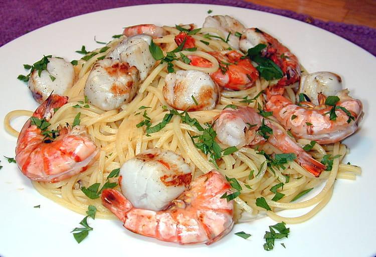 Recette De Spaghettis Aux Saint Jacques Et Aux Crevettes