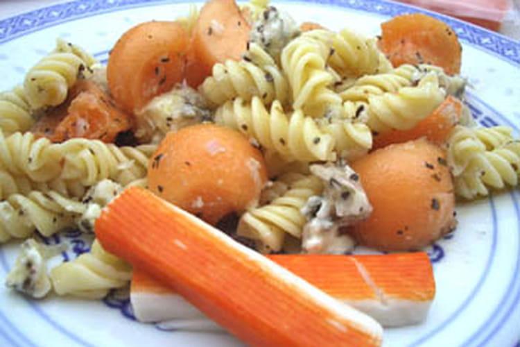 Fusillis et melon en salade  au gorgonzola