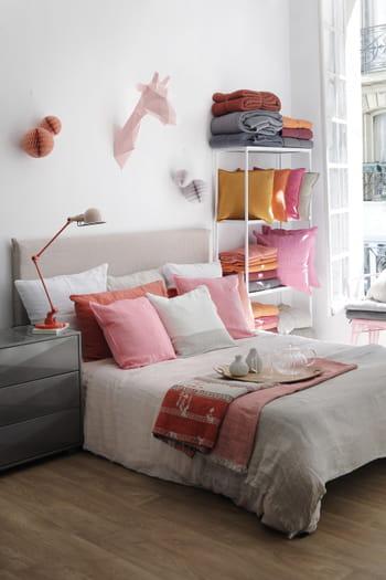 Parure de lit en lin rose et taupe chez fleux 39 - Parure de lit en lin ...