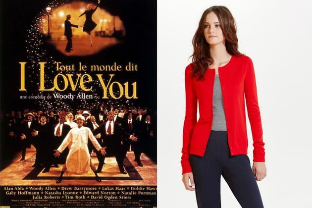 """Un cardigan rouge façon Skylar Dandridge dans """"Tout le monde dit I love you"""""""