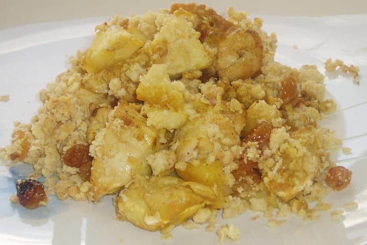 Crumble de poulet aux pommes et flocons d'avoine