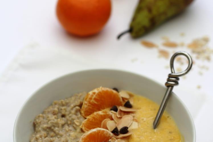 Smoothie bowl aux poires, clémentines et à l'avoine
