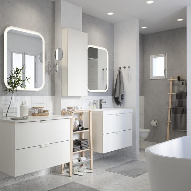 Salle de bains IKEA total look blanc