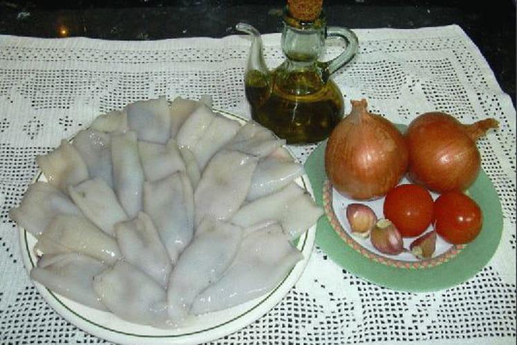 Calamars farcis et frites de poivrons