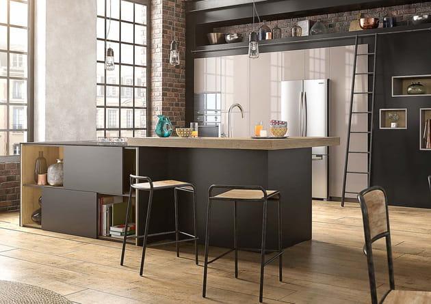 L 39 lot de cuisine en bois et noir for Ilot cuisine noir et bois