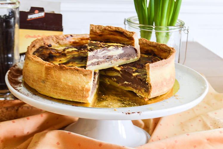 Flan pâtissier marbré chocolat et vanille