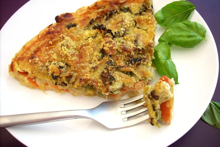 Tarte poulet, pistou, tomates et mozzarella