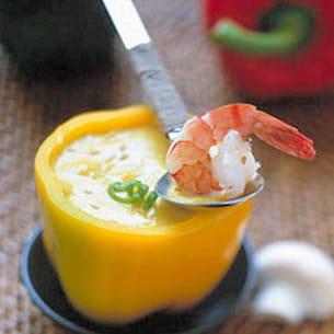 gaspacho glacé de poivrons aux crevettes