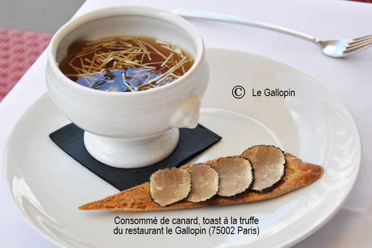 Consommé de canard, toast à la truffe