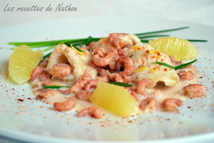 Filets de sole, crevettes grises et sauce au Porto