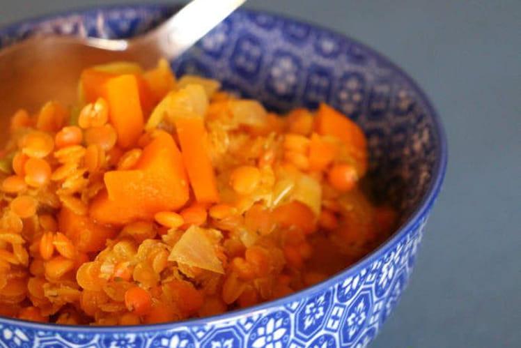 Lentilles rouges aux petits légumes façon risotto