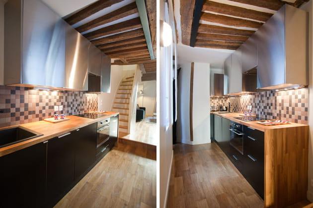 Mobilier noir et plan de travail en bois for Cuisine noire plan travail bois
