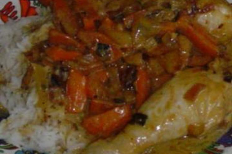 Poulet coco aux oignons et carottes