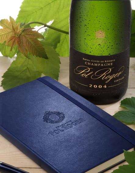 Champagne Pol Roger et carnet de notes Moleskine