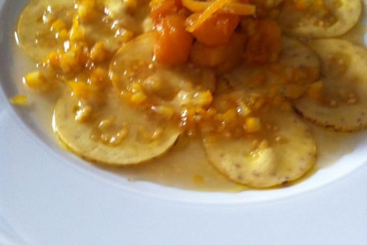 Carpaccio de goyave-billes de citrouilles et zestes d'orange caramelisés