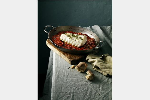 Skrei au four, tomates et ail