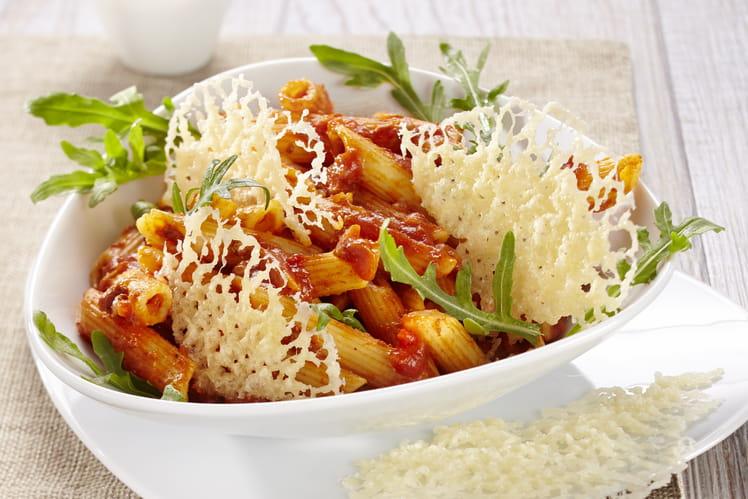 Penne Bolognese Formaggi Italiani Barilla, chips de parmesan