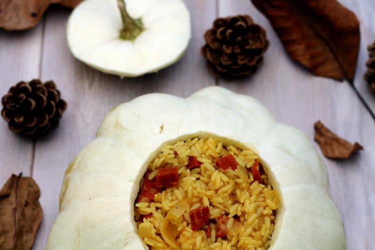 Pâtisson au riz pilaf parfumé au curry et chorizo