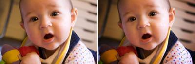 la petite fille se détache davantage du fondavec l'effet devignettage (photo