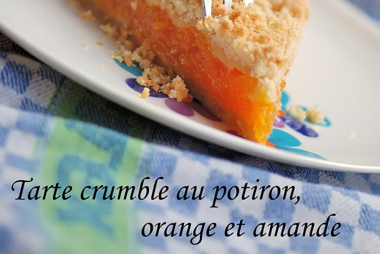 Tarte crumble au potiron, orange et amande