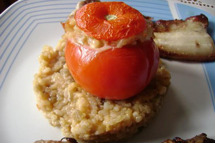 Risotto et tomate farcie