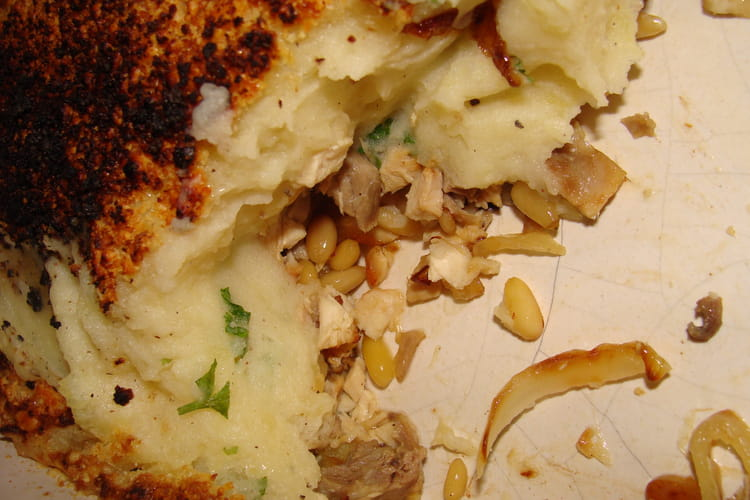 Gratin de pommes de terre, poulet et parmesan