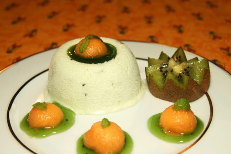 Nougat glacé aux kiwis et billes de melon