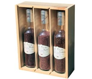 le sel vendu en bouteilles est aromatisé au merlot, syrah et cabernet.