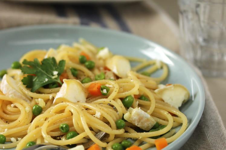 Spaghetti au crottin de Chavignol et aux petits légumes