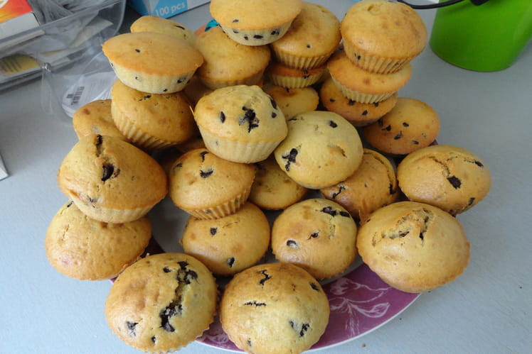 Muffins natures aux pépites de chocolat