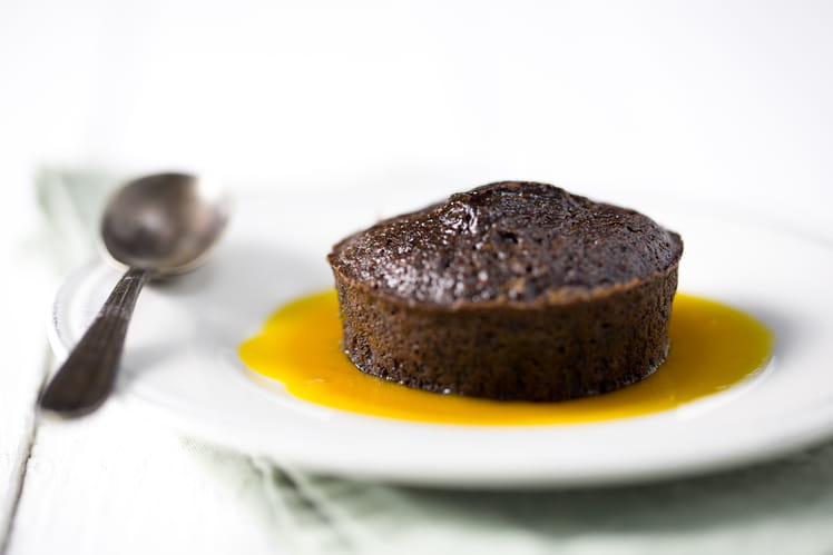 Fondants au chocolat, caramel passion et mangue