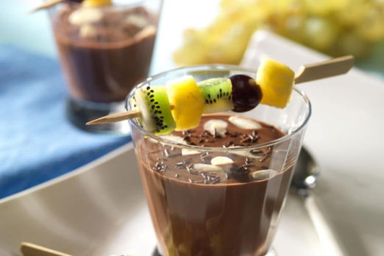 Brochette tutti frutti et sa Verrine de Chocolat Noisette