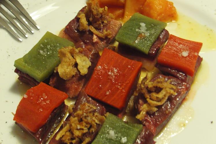 Damier de canard aux poivrons sur jus de papaye