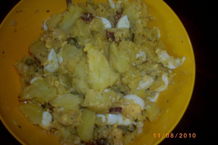 Salade de pommes de terre, oignon et chorizo