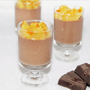 panna cotta au chocolat, orange et fleur d'oranger