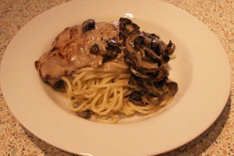 Escalopes de veau, spaghettis au gorgonzola et aux champignons