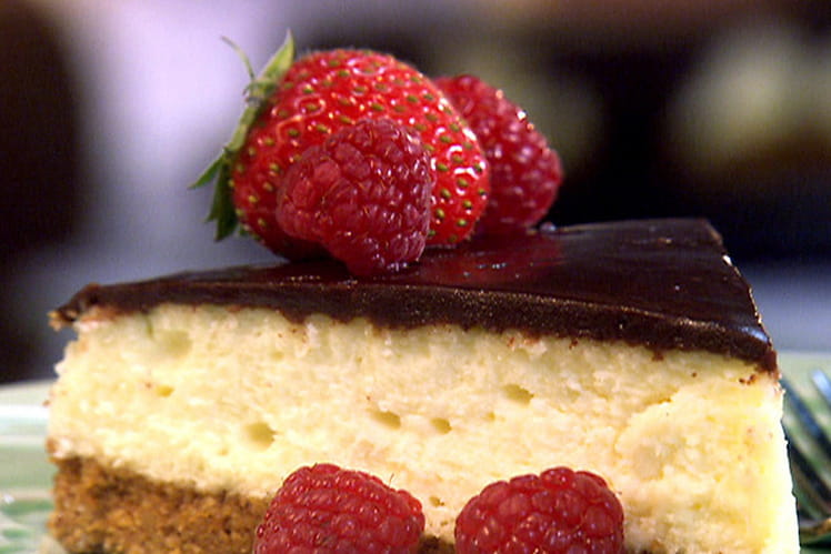 Cheesecake chocolat blanc et praliné, pomme citron