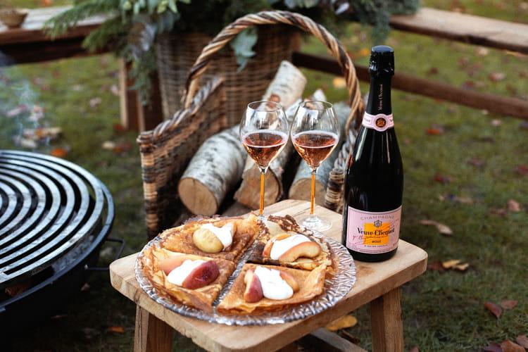 Pommes rôties, cannelle et crêpes par Jean Imbert et Veuve Clicquot