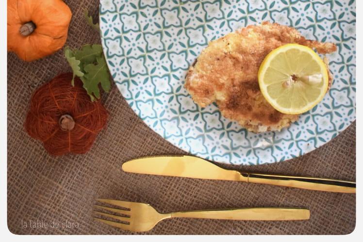 Escalope de poulet à la milanaise et son chou romanesco