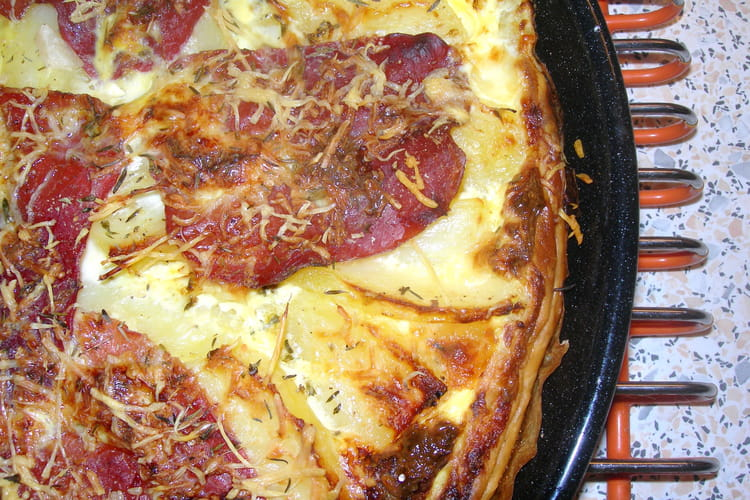 Tarte mozzarella, pommes de terre et bresaola