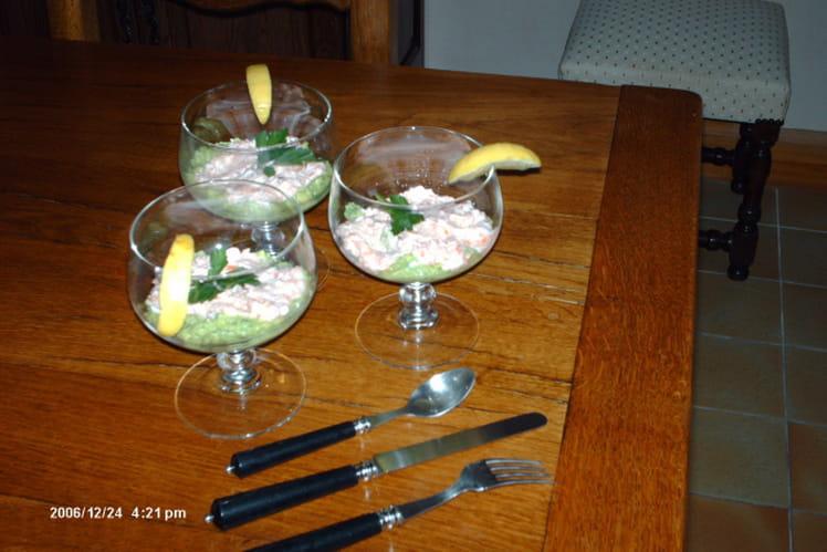 Mousse d'avocat et de saumon fumé au fromage blanc