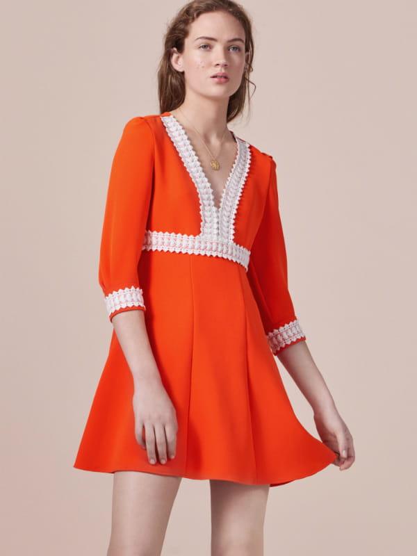 maje robe orange bleu
