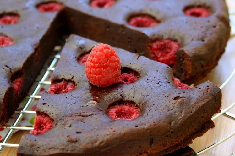 Fondant au chocolat et framboises