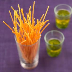spaghetti frits au basilic