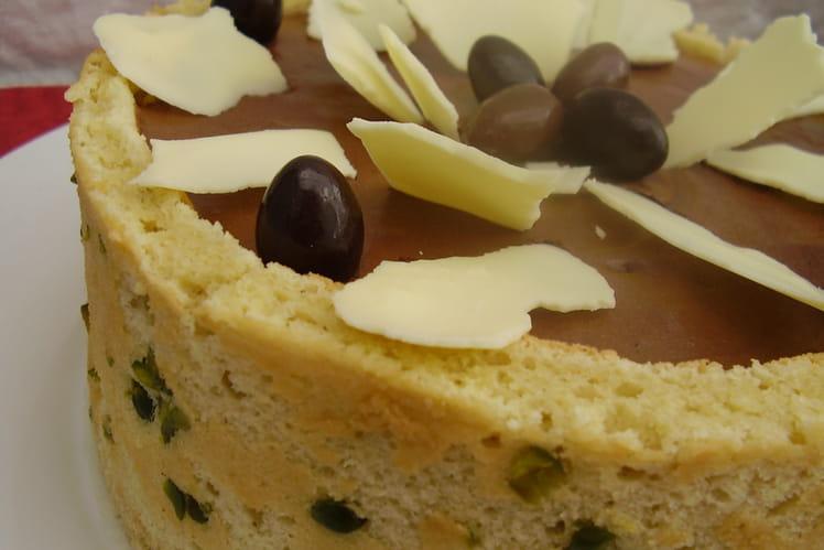Entremets Mona Lisa à la pistache et au chocolat