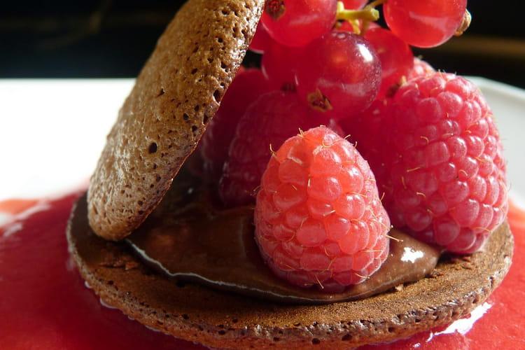 Macarons au chocolat et aux fruits rouges